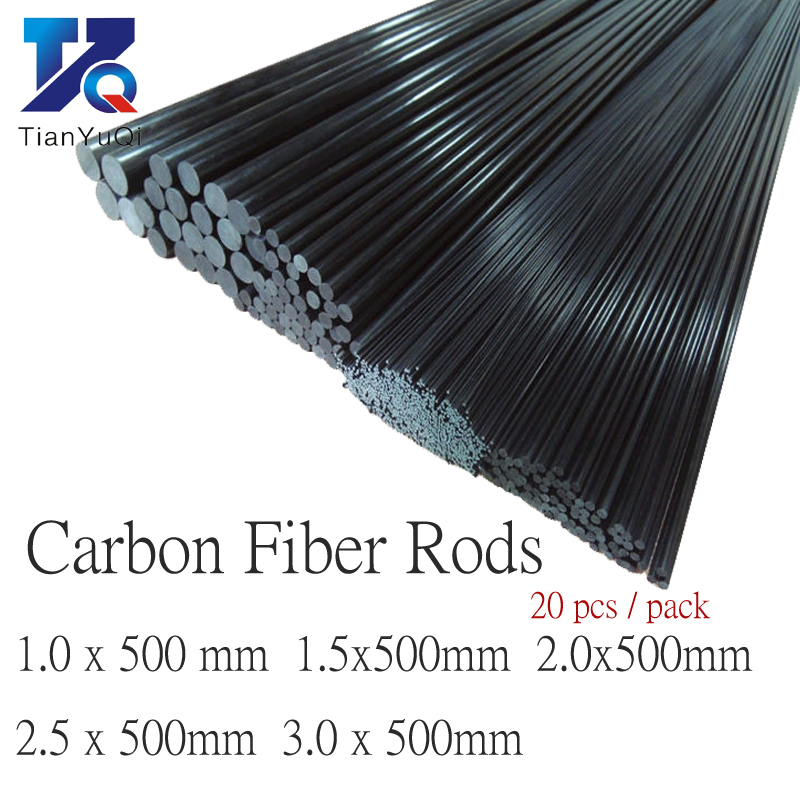 20pcs/lot New Carbon Fiber Rods For RC Plane DIY Tool Wing Tube Quadcopter Arm Carbon Fiber Tube 1mm 1.5mm 2mm 3mm (500mm)
