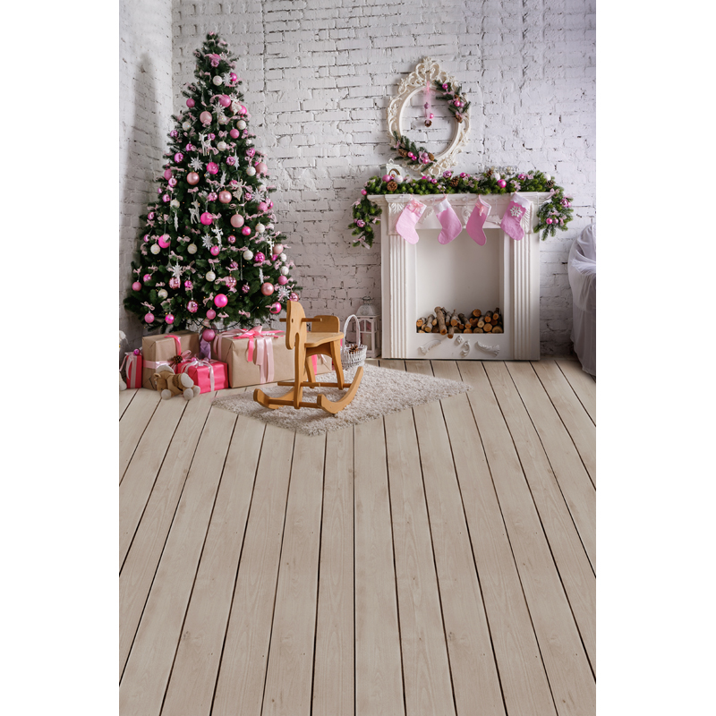 White Wall Christmas House Tree  Floor photography studio background Vinyl cloth Computer printed wall backdrop