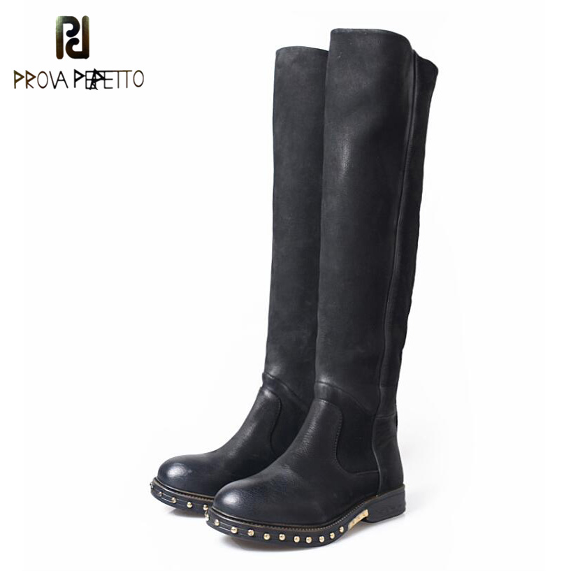 Prova Perfetto Do Old Low Heel Knee High Boots For Women Concise Fashion Round Toe Rivet Genuine Leather Long Boots prova perfetto fashion round toe low heel mid calf boots feminino buckle belt thick bottom genuine leather women s martin boots