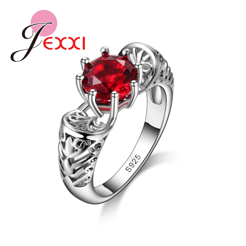 JEXXI Elegant Romantic Jewelry Ring 925 Sterling Silver Round Red Crystal Wedding Engagement Rings For Women