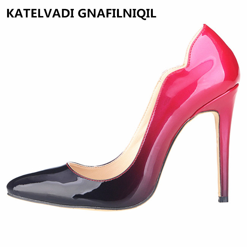 Brand New Women Pumps High Heels Women Shoes Patent Pointed Toe Shoes Woman High Heel Sexy Women Pumps Red Black Heels FS-0026 metal ring holder for smartphones rose gold