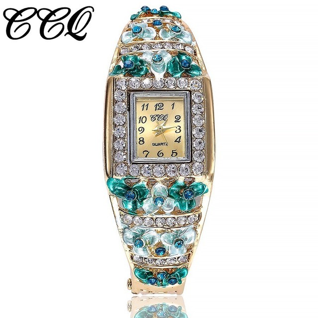 CCQ Brand Women Bracelet Watch Alloy Luxury Flowers Diamond Wrist Watches Female