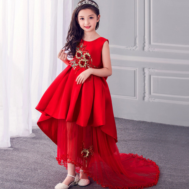 Baby girls elegant lace dresses children red kids long tail evening ...