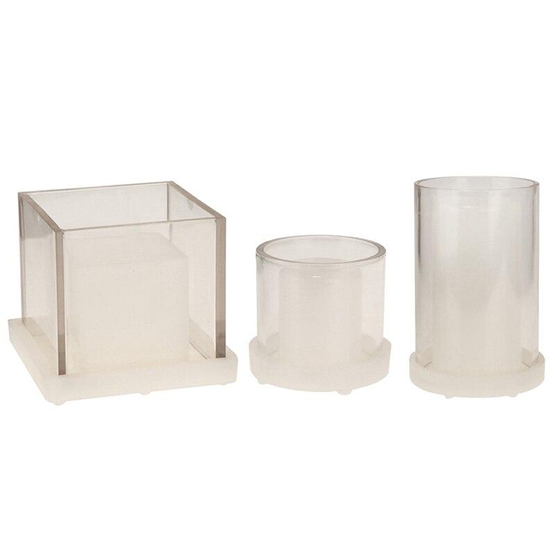 NHBR-3Pcs bougie tasse moules fleurs séchées évidé chandelier moules en plastique acrylique en plastique bougie cire moule Silicone béton