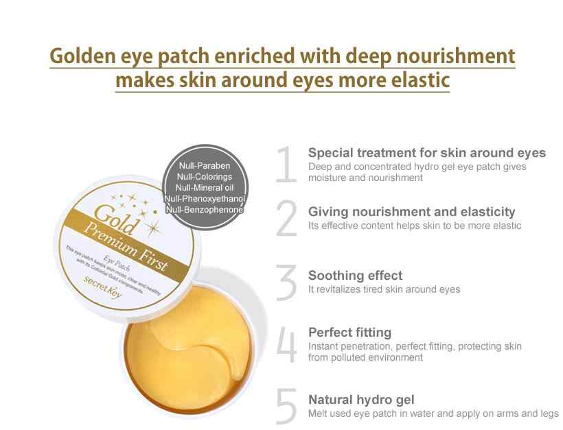 SECRET KEY Gold Premium First Eye Patch 60 pcs Collagen Eye Mask หน้ากาก Remover Dark Circles Anti Age กระเป๋าริ้วรอย Sleep Masks