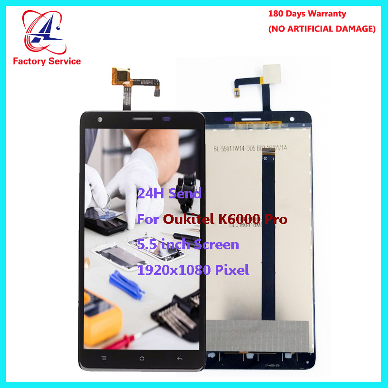 Pour D'origine Oukitel K6000 Pro LCD Écran Affichage + Écran Tactile Digitizer Assemblée Remplacement Du Capteur 5.5 1920x1080 Pixel stock
