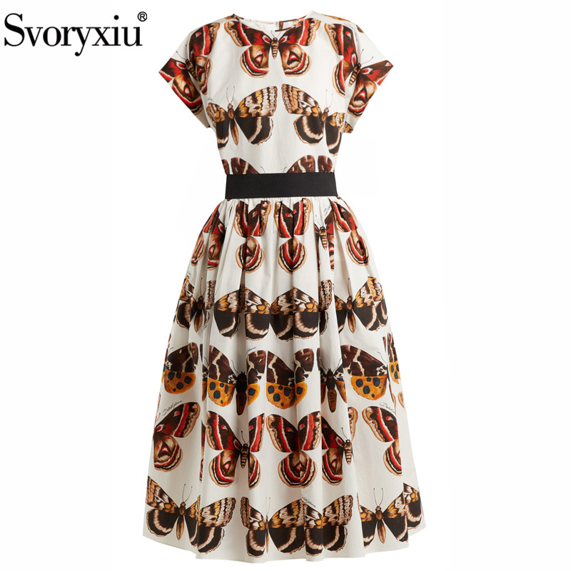Svoryxiu 2019 Women s Summer Runway Skirt Suit Short Sleeve Tops Long Skirts Vintage Butterfly Printed