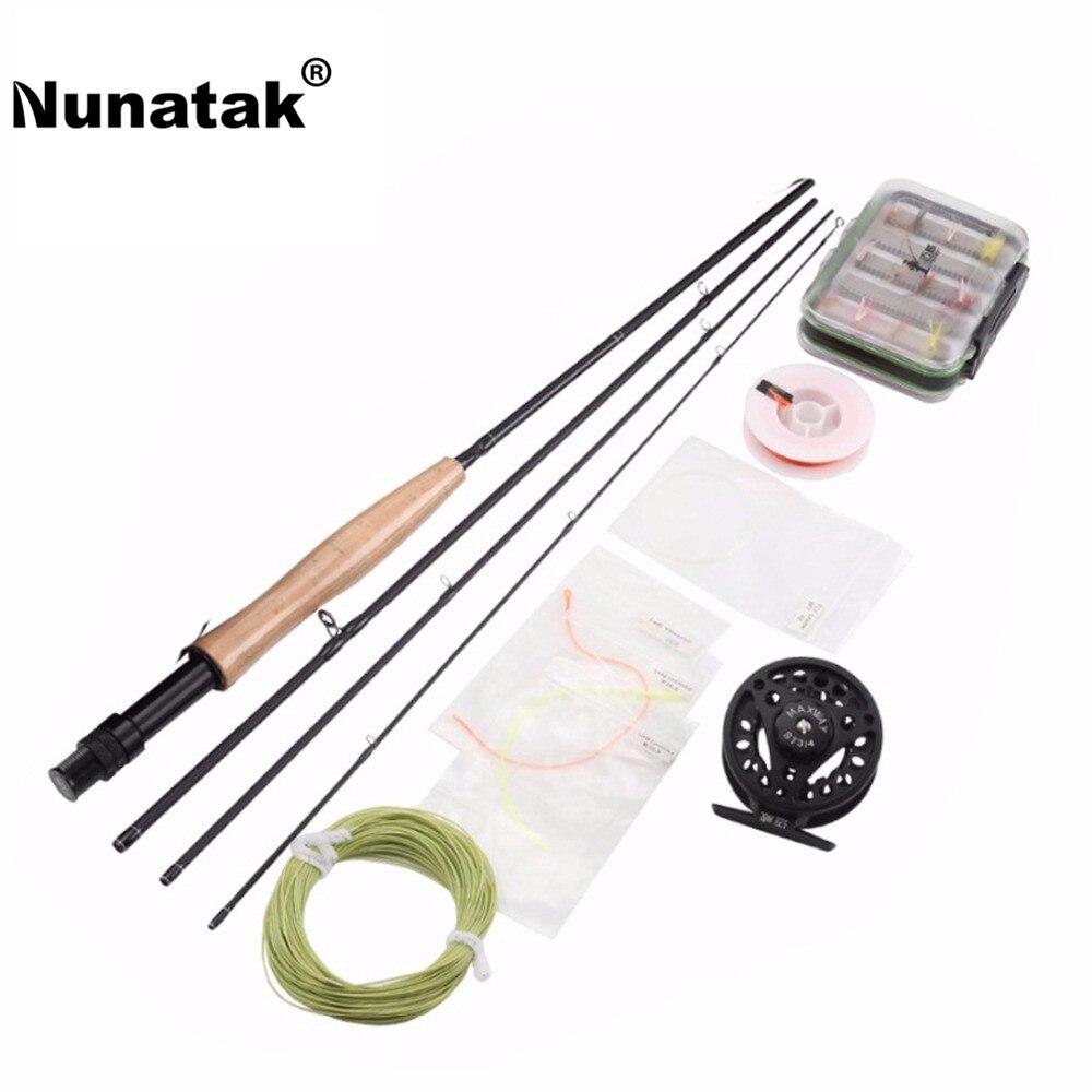 Nunatak pêche à la mouche Combo ensemble canne à pêche 2.1 M 4 Sections + moulinets de pêche à la mouche 3/4 aluminium + ligne de mouche + leurre de pêche avec boîte