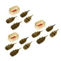 12 조각 잉어 낚시 인라인 방법 플랫 피더 리드 싱커 3 조각 빠른 릴리스 금형 잉어 낚시 미끼 홀더