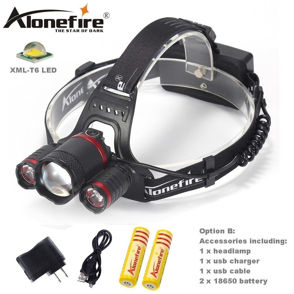 Alonefire HP33 ярких и Best светодиодный налобный фонарик Перезаряжаемые 18650 фар Фонари Водонепроницаемый Кемпинг hat light ...