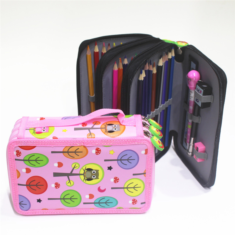 Cute School Pencil Case Kawaii Cartoon Pen Bag 32/52/72 Holes Penalty Pencilcase Multilayer Large Pouch for Girls Boy Stationery cute girl penalty pencil case with lock big capacity pu korean stationery for girls pen bag pouch pencilcase school supplies