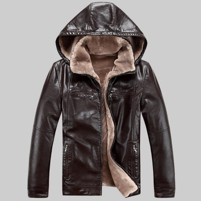 Winter high-end Leisure mens leather jackets plus velvet warm coat mens jacket casual windproof PU leather hooded Removable