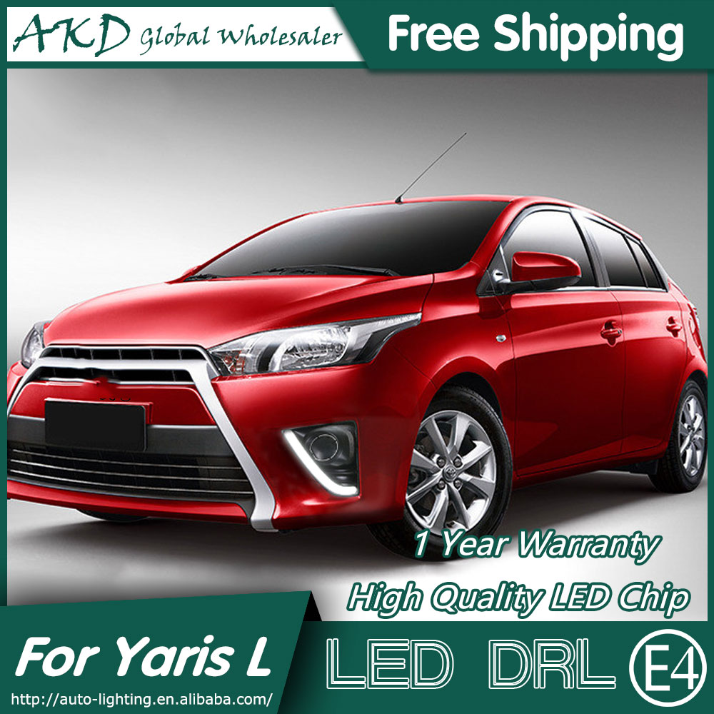 Akd car styling for toyota yaris led drl 2014 2015 new yaris cob design led