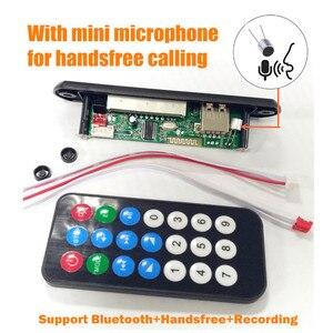 Image 2 - Reproductor Mp3 de Radio para coche con Bluetooth, tarjeta de grabación FM, TF, AUX, con micrófono, modificación de altavoz de coche, 5V 12V, manos libres