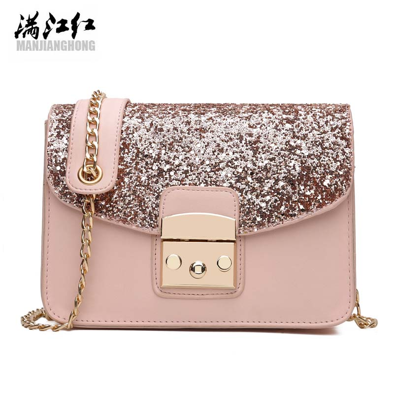 MJH 2017 Women PU Bling Sequins small Messenger Chain Bag Female Fashion Simple Shoulder Crossbody Bag Ladies Evening Party Bags