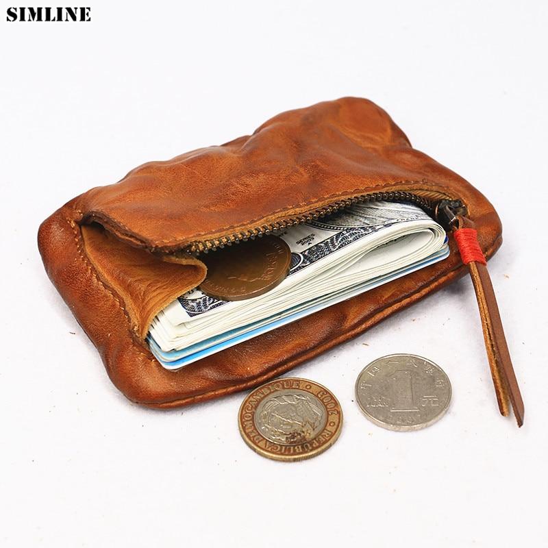 Genuine Leather Coin Purse For Women Men Vintage Small Mini Short Wallet Card Holder Money Bag Case Zipper Change Purses Female