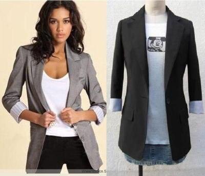 Ps31 gris negro chaqueta blazer TUX mangas de doblado en