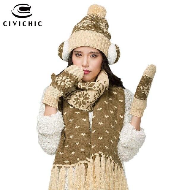 CIVICHIC Lady Fleece Christmas Gift New Year Warm Scarf Hat Gloves Earmuffs  4 Piece Set Pompon Cap Tassel Shawl Ear Warmer SH122 77199ef43652