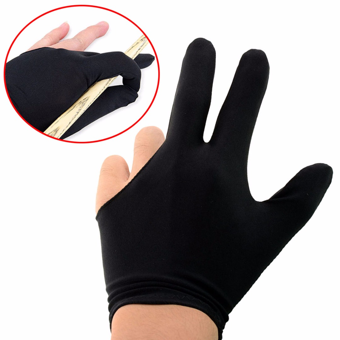 NEW Elastic Nylon 3 Fingers Glove For Billiard Pool Cue Tip Table Snooker Shooter High Quality Billiard Accessories