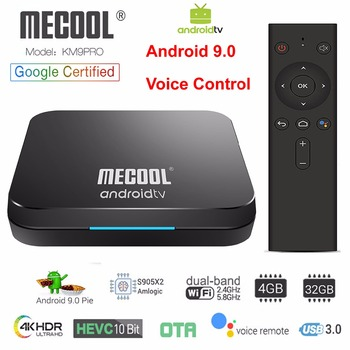 Google Certified Android 9.0 Smart TV Box KM9 PRO Amlogic S905X2 LPDDR4 4GB 32GB Voice Remote 2.4G/5G Dual WIFI 3D 4K HDR BT4.0