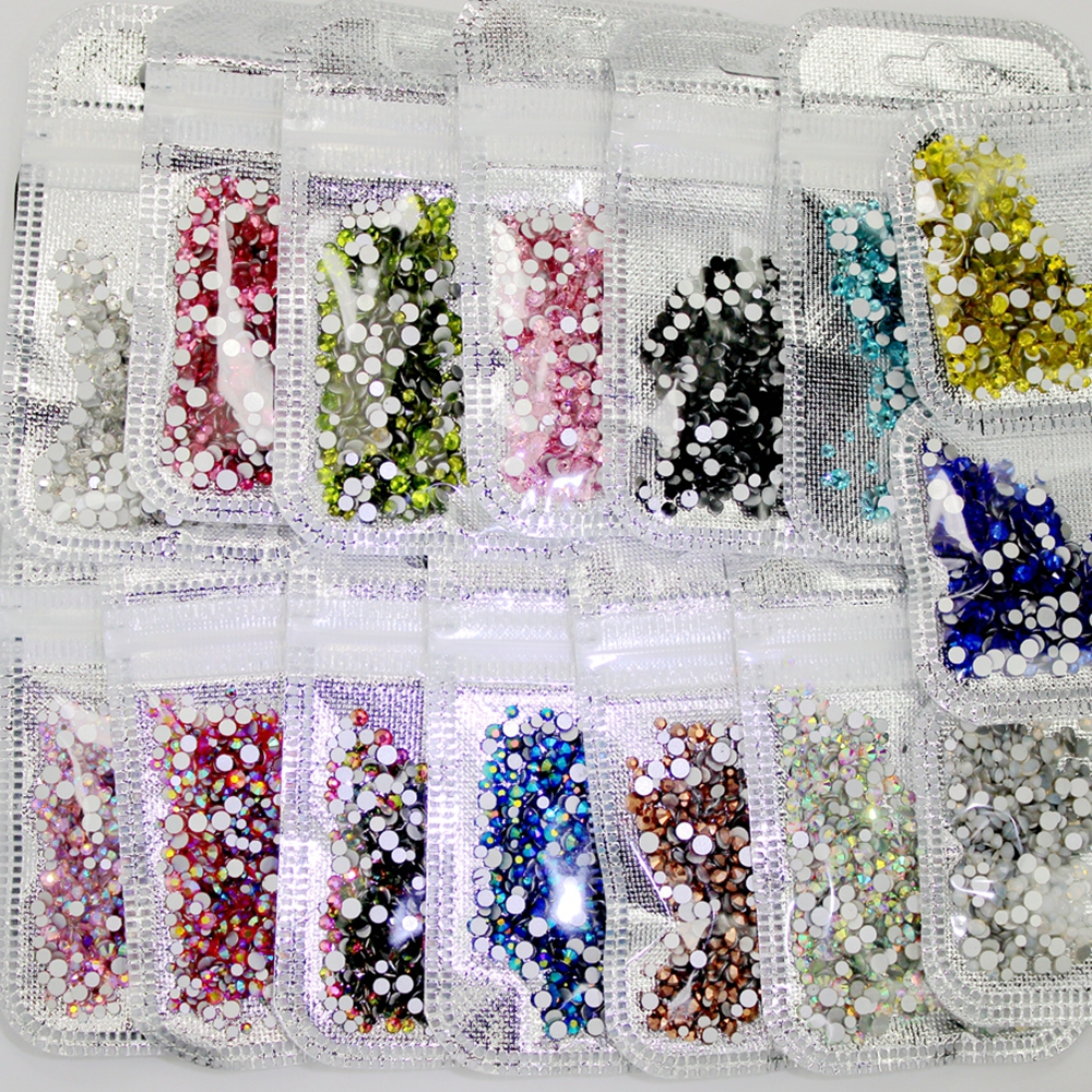 Nail Art Rhinestone 400pcs Mix of SS4-SS12 Glass Flatback Crystals Non Hotfix Nail Rhinestones For Nails Over 60colors art of war