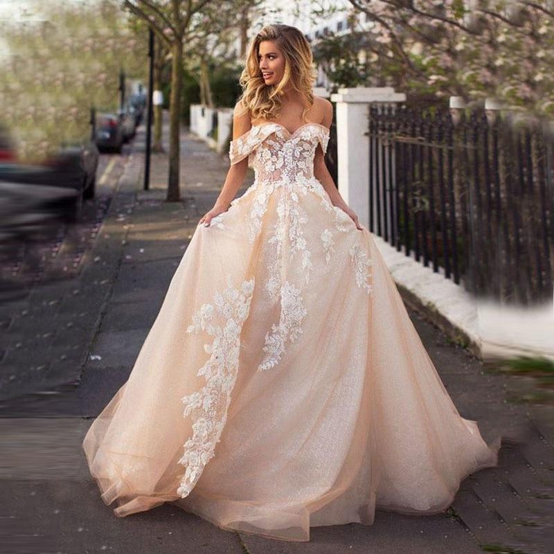 Sweetheart Champagne Wedding Dress Vestido de Noiva Robe de Mariee Off the Shoulder with Lace Appliques