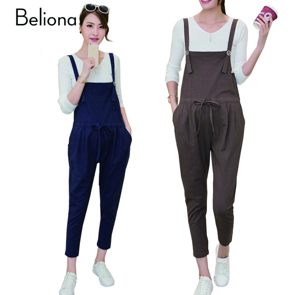 Maternity Pants for Pregnant Women Comfortable Linen Cotton Overalls Jumpsuit Pregnancy Clothes Autumn Maternity Clothing