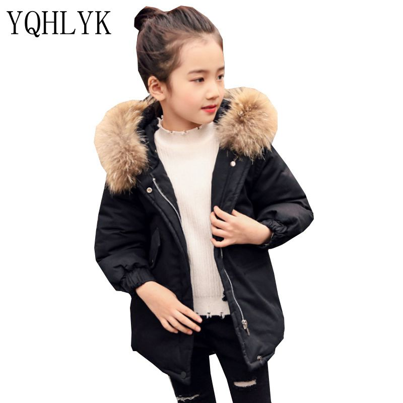 New Fashion Winter Cotton Girls Coat 2017 Korean Children Hooded Zipper Thick Warm Coat Casual Joker Kids Clothes 4-13Y W47 tnlnzhyn winter new women clothing warm cotton coat fashion large size thicken long sleeve casual female cotton outerwear qq260
