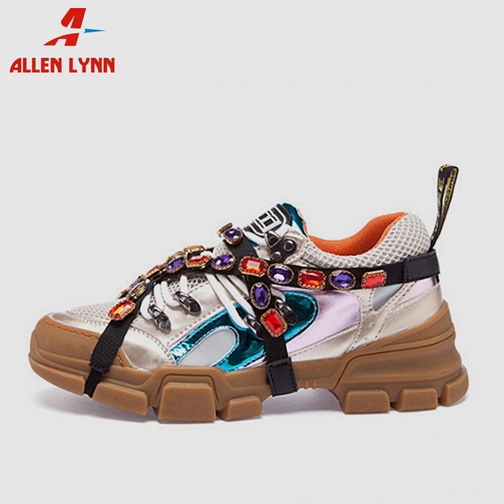 ALLENLYNN 2019 nouvelle marque en cuir véritable chaussures Sneakers femmes 2019 automne chaîne décoration femmes plate-forme chaussures femme