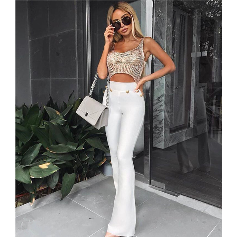 Sexy Style Black Red White Flare Pants Ladies Full Long Women Pants Buttons High Waist Bodycon Bandage Pants