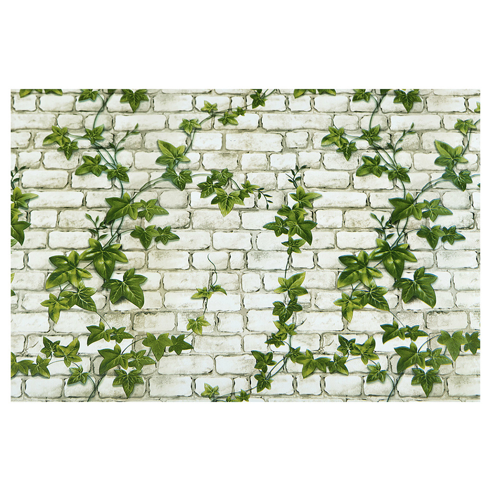 Wall Paper 10m Peel and Stick Brick with Green Leaves Wall ...