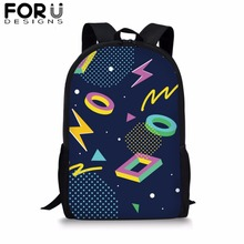 FORUDESIGNS Striped&Plaid Print School Bag Teenage Girl Boys 16 inch Customize Backpack Kids Children Bright Polyester Bookbag