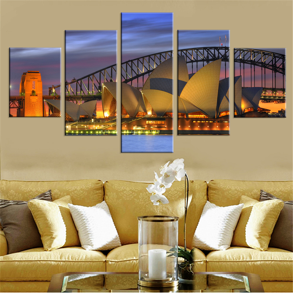 Oramat oljemålning Harbour Bridge Canvastryck Sydney Night Scenery - Heminredning
