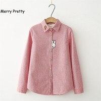 MerryPretty Thick Velvet Blusas Winter Cotton Long Sleeve Women Striped Shirt Flannel Blouses Feminina Chemise Femme