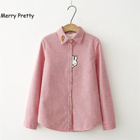 MerryPretty Thick Velvet Blusas Winter Cotton Long Sleeve Women Striped Shirt Flannel Blouses Feminina Chemise Femme