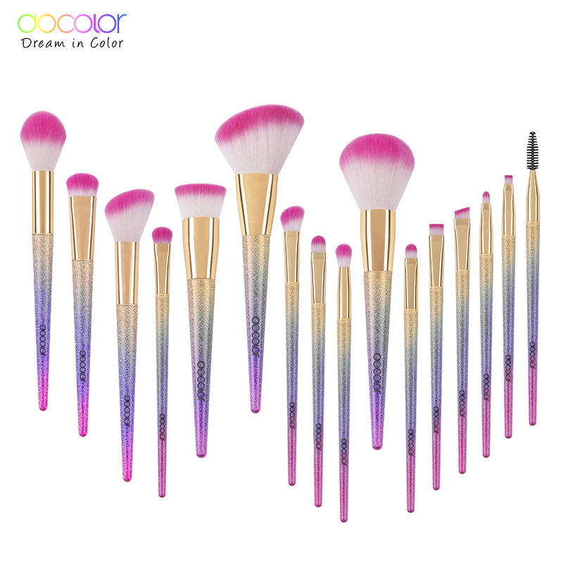Docolor make-up kwasten 10pcs / 16pcs make-up set van fantasieset poeder oogschaduw kits contour borstel make-up borstel set