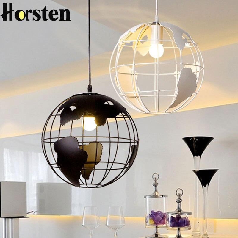 Horsten Nordic Vintage Creative Globe Ball Pendant Light E27 Holder White Black Pendant Lighting For Living Ding Room Bar Cafe вьетнамки globe merkin combo black green white
