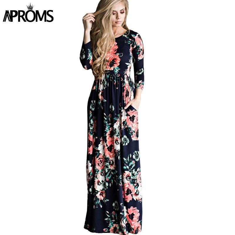 Aproms Boho Blumen Druck Lange Maxi Winter Kleid Frauen Mode Plus ...