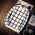 Осень плед с длинными рукавами Футболки мужской плюс размер пуловер о-образным вырезом футболка мужская одежда бесплатный shippin