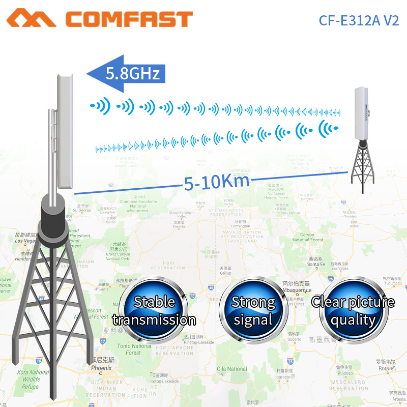 COMFAST CF-E312V2Wireless pont en plein air 300 Mbps Routeur 5 Ghz booster de signal wifi Amplificateur long range Antenne Wi fi point d'accès