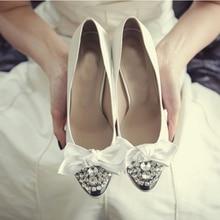 Fashion Rhinestone Spring High Heel Shoes White Satin Bridal Shoes Wedding Bridesmaid Shoes Round Toe Platform Pumps with Bow