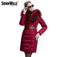 2016 fashion luxury large fur collar high quality medium-long down coat female thickening women's outerwear female