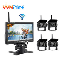 AMPrime 7 Wireless Car Monitor Backup Camera System Rearview Screen 4 Rear Cameras IR Night Vision Waterproof For Bus Truck