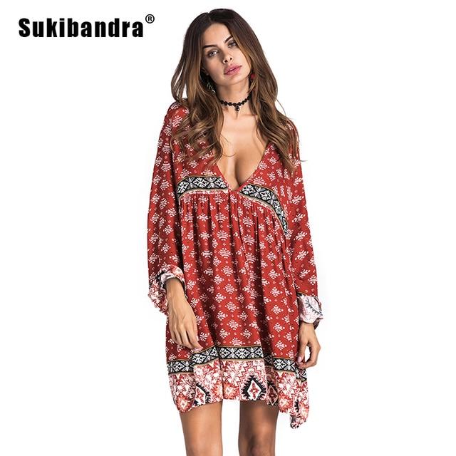 61af2a3aac1 Sukibandra été manches longues femmes imprimé Floral plage courte robe  profonde col en V Boho Chic