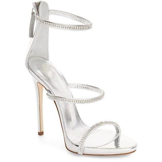 Просто Дизайн Женщины Блестящий Шампанское Золотой Кристалл Шпильках Платье Сандалии Модный Стиль Линии Сандалии Zip Платье Обувь - 2