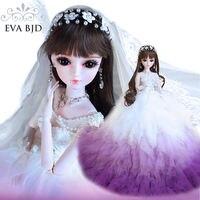22 EVA BJD Surprise Wedding Gift 1/3 60cm BJD Doll 24inch Ball jiointed doll Bride doll +Handmade Makeup +Full Accessory Figure