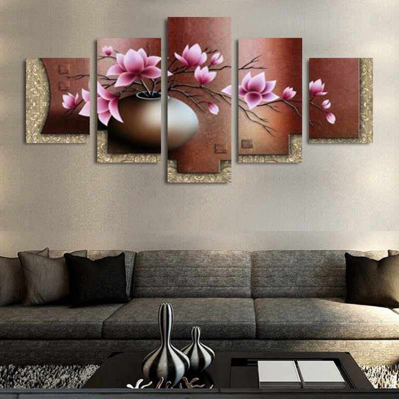 Modern Canvas Wall Art Frame 5 Panel Beautiful Flower Modular Pictures For Living Room Home Decor Abstract Painting On Canvas Picture For Living Room Modular Picturespaintings On Canvas Aliexpress