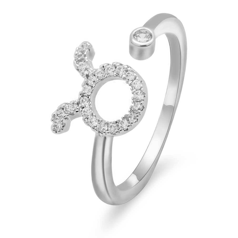 LuReen 12 Constellations Zodiac Sign Finger Rings for Women Girls Silver Color Adjustable Iced Out Cubic Zirconia Ring Jewelry