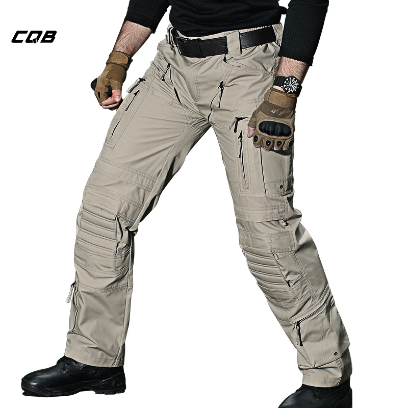CQB Outdoor Camping Hiking Pants Men Tactical Multi Pocket Water Repellent Wear-resisting Climbing Trekking Pants men zip pocket peg leg pants