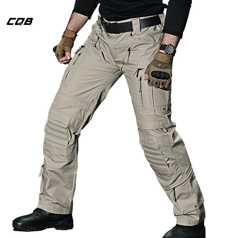 CQB Outdoor Camping Hiking Pants  Men Tactical Multi Pocket Water Repellent Wear-resisting  Climbing Trekking Pants